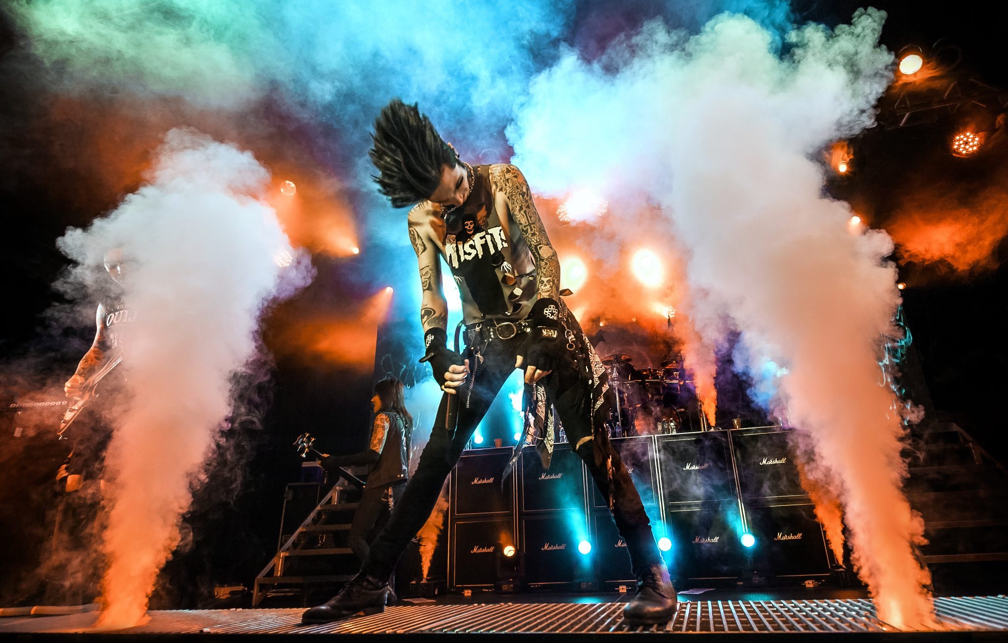 Black Veil Brides vocalist Andy Biersack standing between columns of CO2 on the 2015 Black Mass tour at The Fillmore in Charlotte, NC. Photo by Lizzy Davis.
