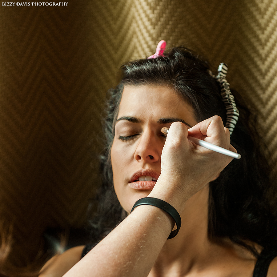 Lovely bride having her makeup done for her wedding day. Lizzy Davis Wedding Photography.